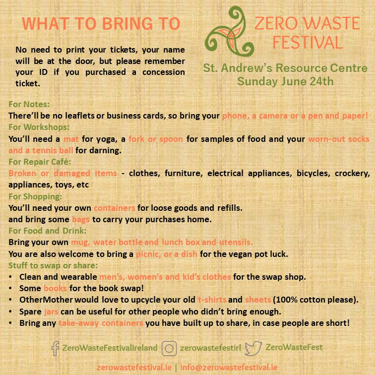 Zero Waste Festival What to Bring